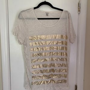 J. Crew tee with gold stripe detail